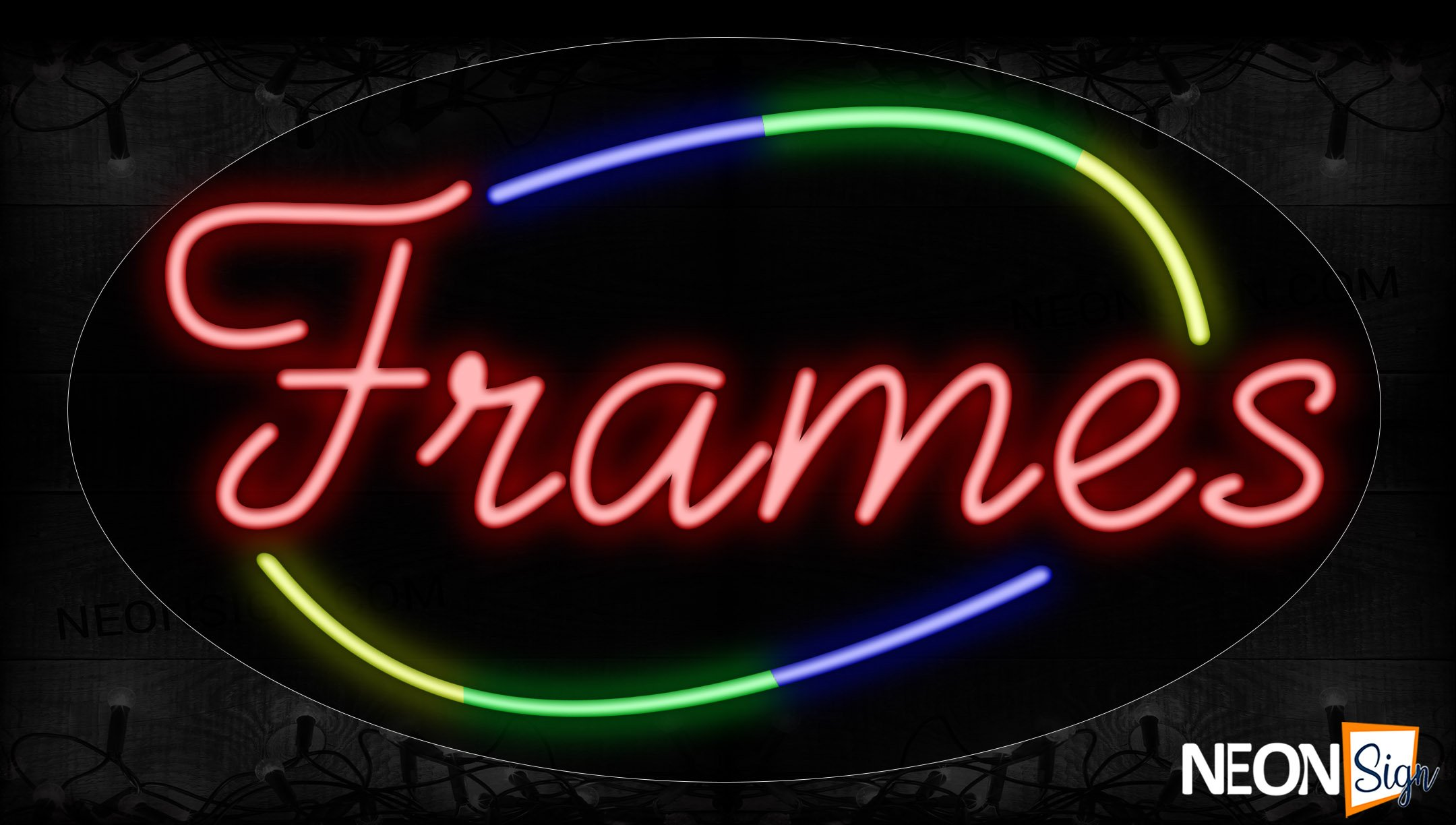 Image of 14520 Frames In Red With Colorful Arc Border Neon Signs_17x30 Contoured Black Backing