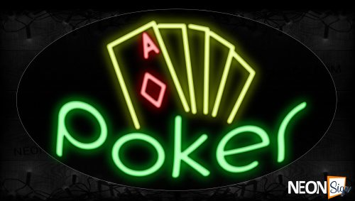 Image of 14555 Poker With Cards Logo Neon Signs_17x30 Contoured Black Backing
