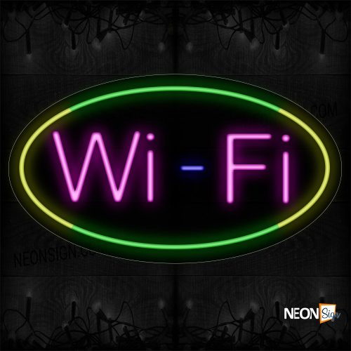 Image of 14565 Wifi In Pink With Green And Yellow Oval Border Neon Signs_17x30 Contoured Black Backing