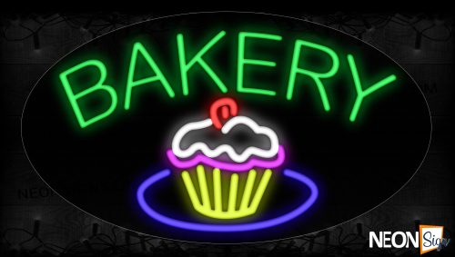 Image of 14615 Bakery With Cupcake Neon Signs_17x30 Contoured Black Backing