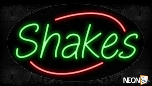 Image of 14642 Shakes In Green With Red Arc Border Neon Signs_17x30 Contoured Black Backing