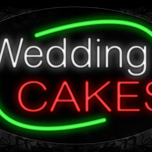 Image of 14648 Wedding Cakes With Green Arc Border Neon Signs_17x30 Contoured Black Backing