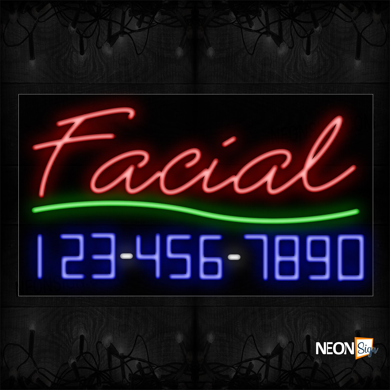 Image of 15002 Facial With Contact No Neon Signs_20x37 Black Backing