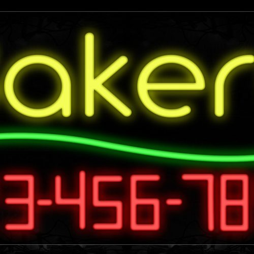 Image of 15017 Bakery With Contact No Neon Signs_20x37 Black Backing