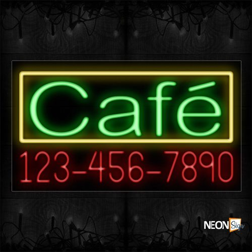 Image of 15019 Cafe And Phone Number With Yellow Border Neon Signs_20x37 Black Backing