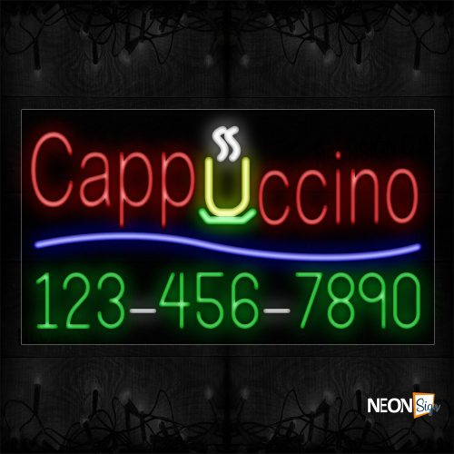 Image of 15020 Cappuccino And Blue Line With Phone Number Neon Signs_20x37 Black Backing