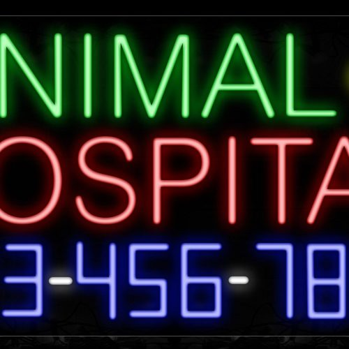 Image of 15040 Animal Hospital With Contact No Neon Sign_20x37 Contoured Black Backing