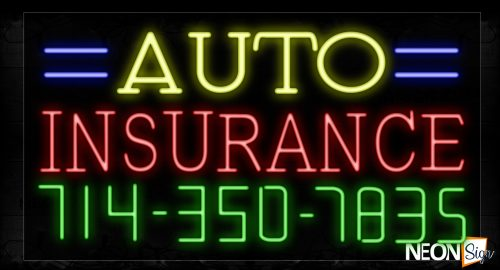 Image of 15041 Auto Insurance And Phone Number With Blue Lines Neon Signs_20x37 Black Backing