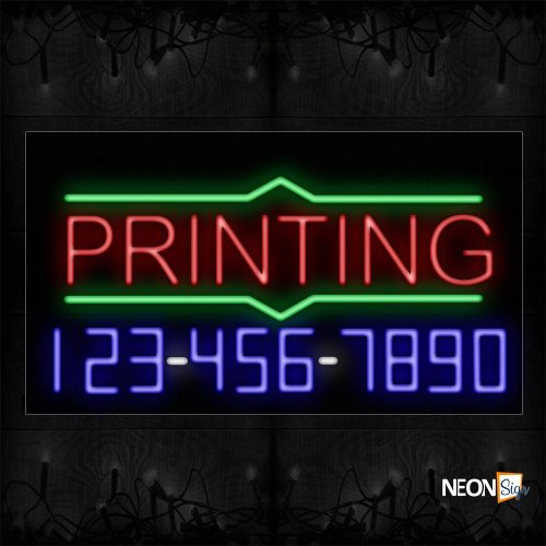 Image of 15098 Printing With Contact Number On Bottom Traditional Neon_20x37 Black Backing