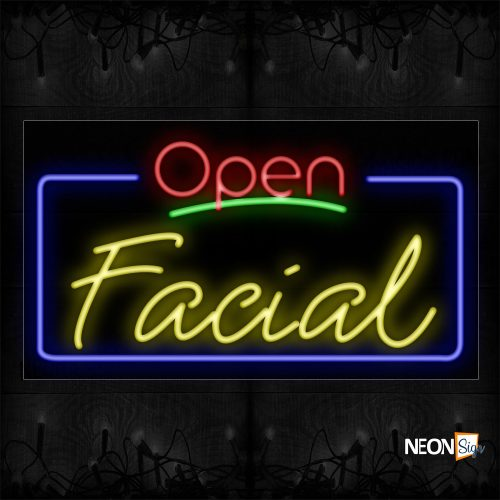 Image of 15402 Open Facial With Border Neon Signs_20x37 Black Backing