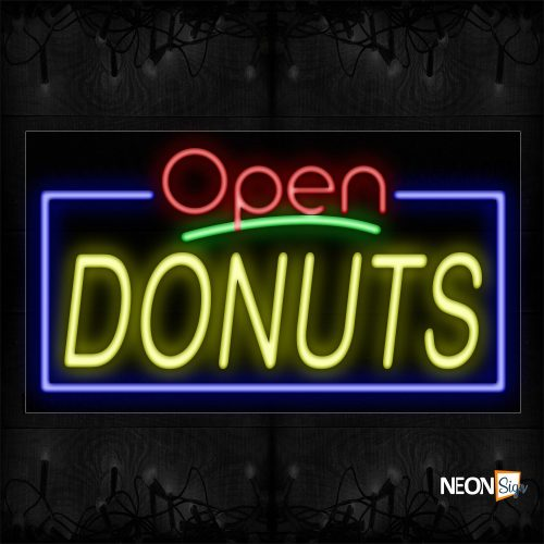 Image of 15427 Open Donuts with blue border Neon Signs_20x37 Black Backing
