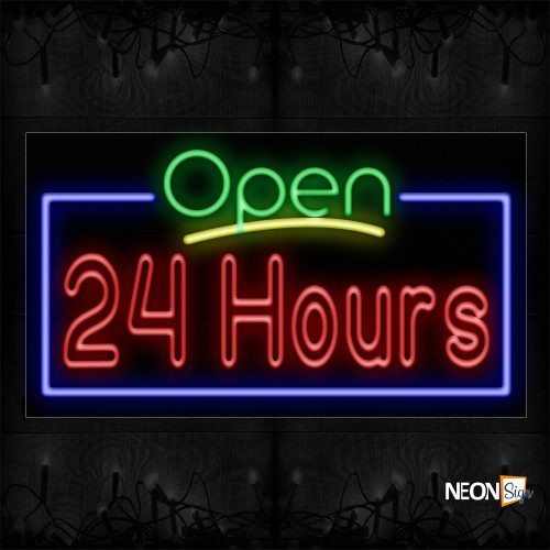 Image of 15434 Open 24 Hours (Double Stroke) with blue border Neon Signs_20x37 Black Backing (1)