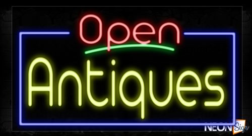 Image of 15446 Open Antiques With Blue Border And Green Line Neon Sign_20x37 Contoured Black Backing