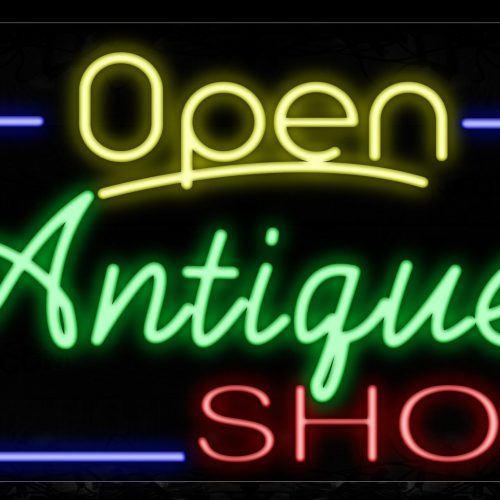 Image of 15447 Open Antique Shop With Blue Border Neon Sign_20x37 Contoured Black Backing