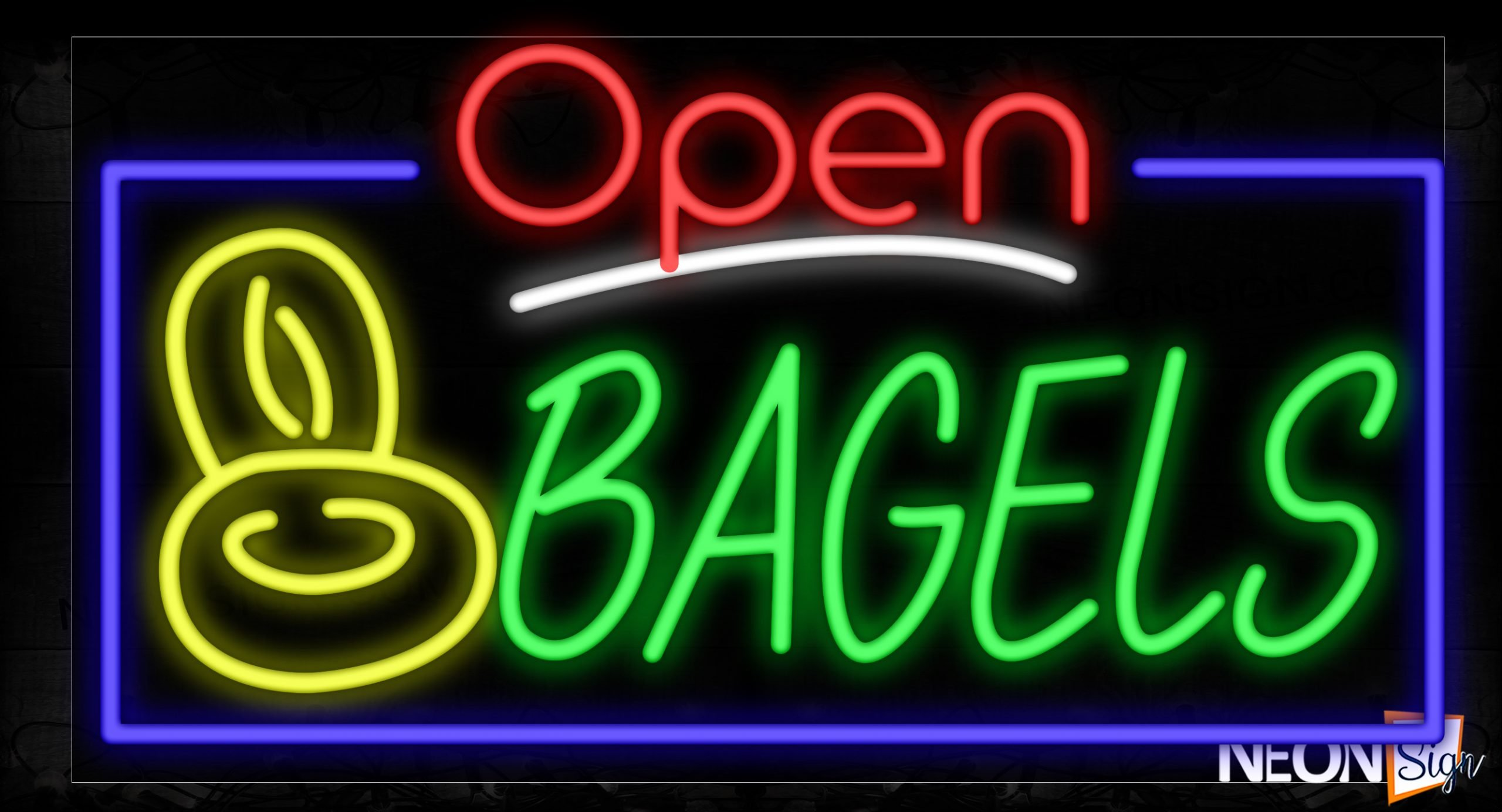 Image of 15456 Open Bagels With Border & Bread Logo Neon Signs_20x37 Black Backing