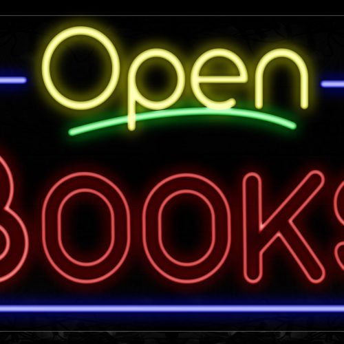 Image of 15469 Open Books With Border Neon Signs_20x37 Black Backing