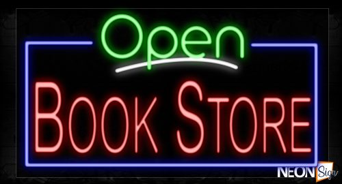 Image of 15470 Open Bookstore With Blue Border Neon Signs_20x37 Black Backing