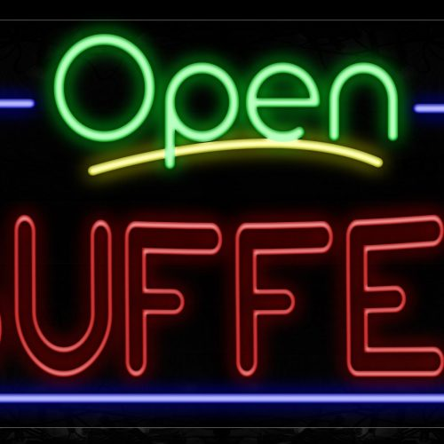 Image of 15472 Open Buffet (Double Stroke) With Blue Border Neon Signs_20x37 Black Backing