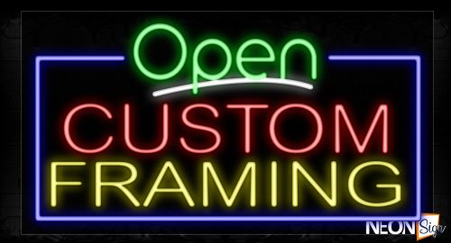 Image of 15503 Open Custom Framing With Border Neon Signs_20x37 Black Backing