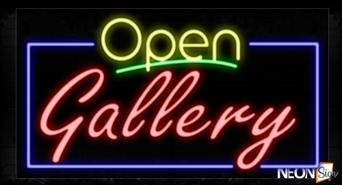 Image of 15505 Open Gallery With Border Neon Signs_20x37 Black Backing