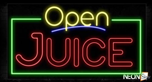 Image of 15525 Open Juice (Double Stroke) With Green Border Neon Signs_20x37 Black Backing