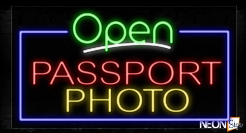 Image of 15546 Open Passport Photo With Border Neon Signs_20x37 Black Backing