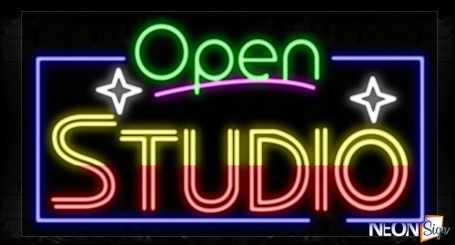 Image of 15573 Open Studio With Border Neon Signs_20x37 Black Backing