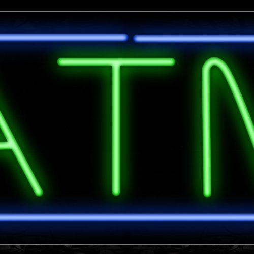 Image of 10010 ATM in green with blue border Neon Sign_13x32 Black Backing