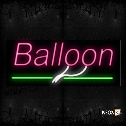 Image of 10016 Balloon With Green Line Neon Sign_13x32 Black Backing