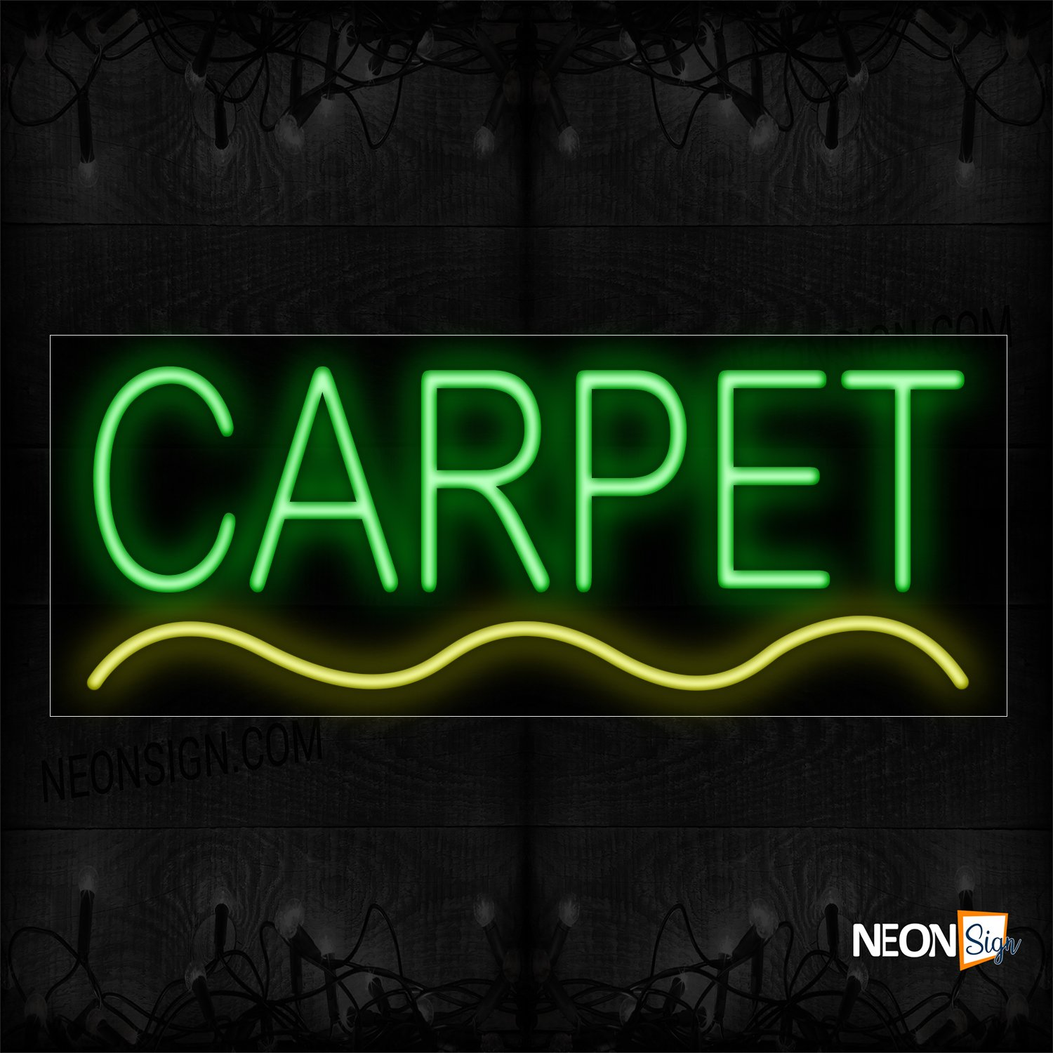 Image of 10033 Carpet In Green With Yellow Curved Line Neon Sign_13x32 Black Backing