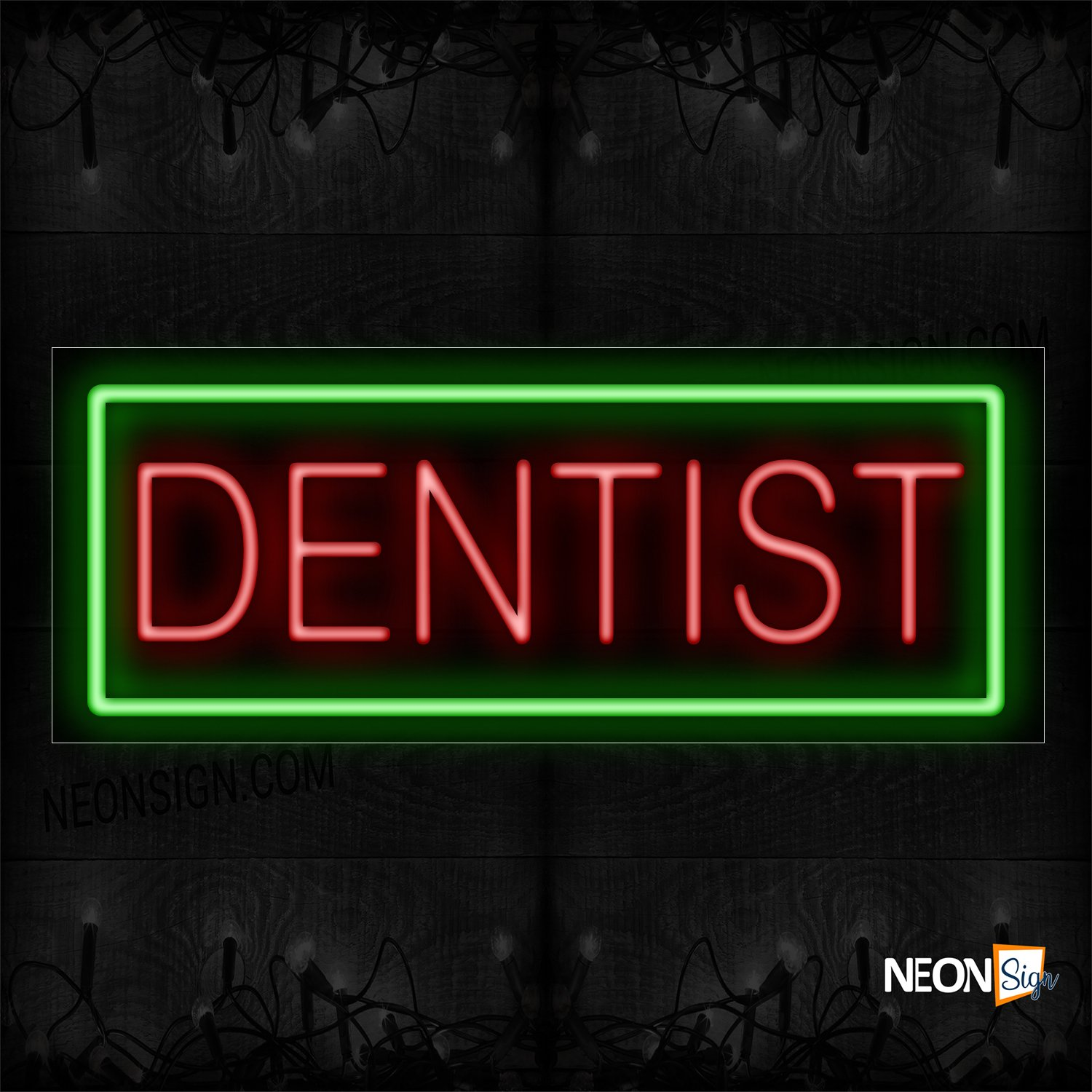 Image of 10048 Dentist In Red With Green Border Neon Sign_13x32 Black Backing