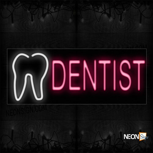Image of 10049 Dentist in red With Tooth Logo Neon Sign_13x32 Black Backing