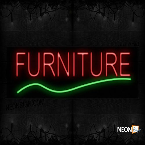 Image of 10062 Furniture In Red With Green Line Neon Sign_13x32 Black Backing