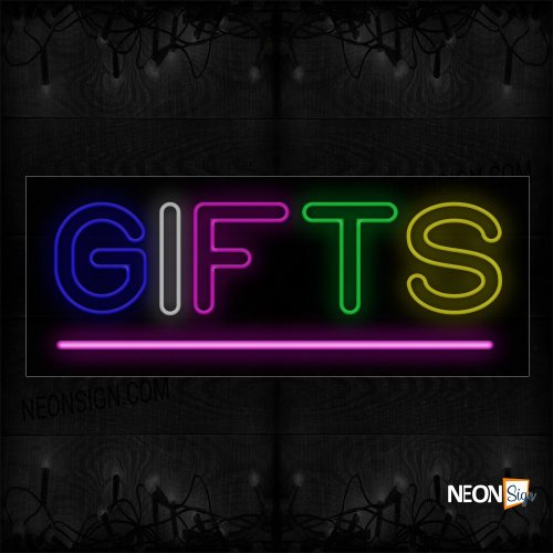 Image of 10065 Double Stroke Colorful Gifts With Pink Line Neon Sign_13x32 Black Backing