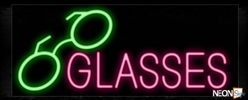 Image of 10066 Glasses with eyeglass logo Neon Sign_13x32 Black Backing