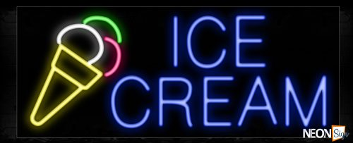 Image of 10077 Ice Cream with logo Neon Sign_13x32 Black Backing