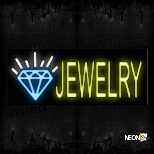 Image of 10082 Jewelry In Yellow With Diamond Logo Neon Sign_13x32 Black Backing