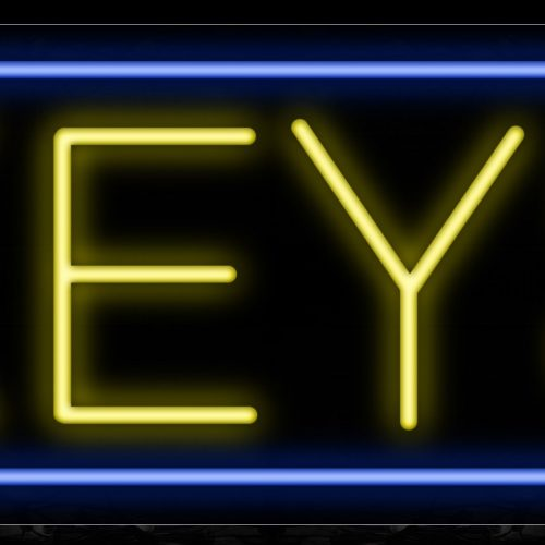 Image of 10083 Keys in yellow with blue border Neon Sign_13x32 Black Backing