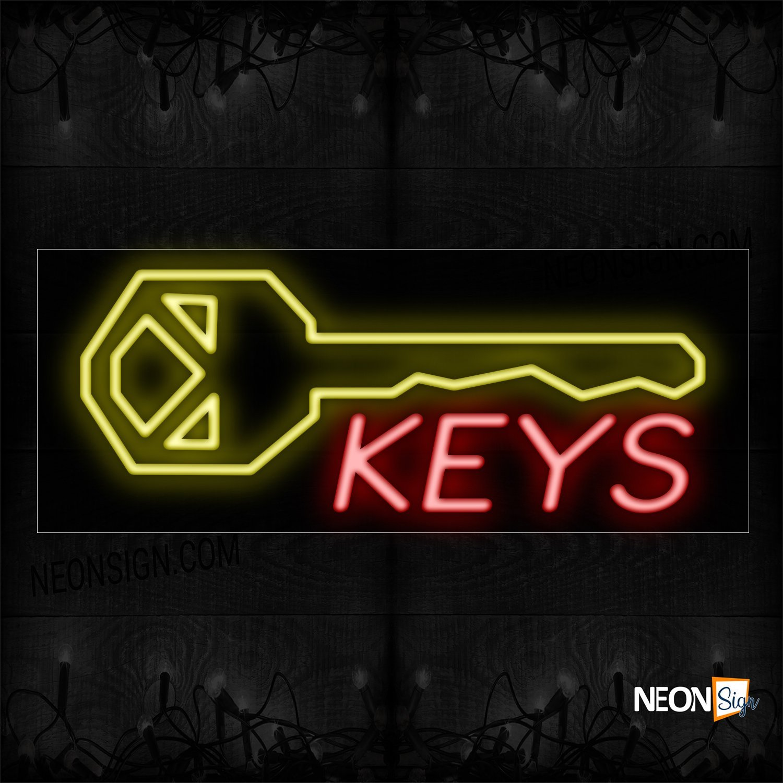Image of 10084 Keys With Key Logo Neon Sign_13x32 Black Backing
