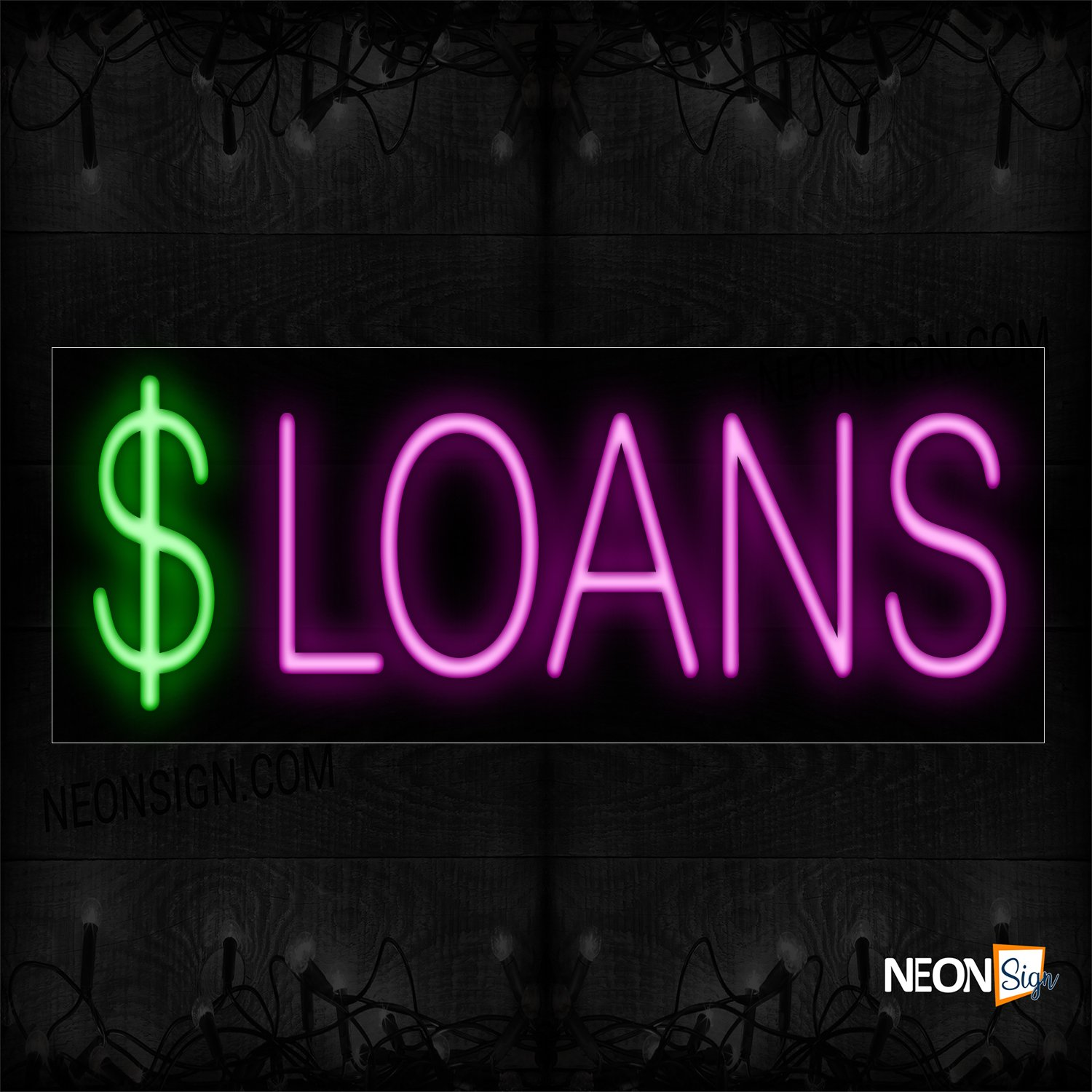 Image of 10087 $ Loans In Pink Neon Sign_13x32 Black Backing