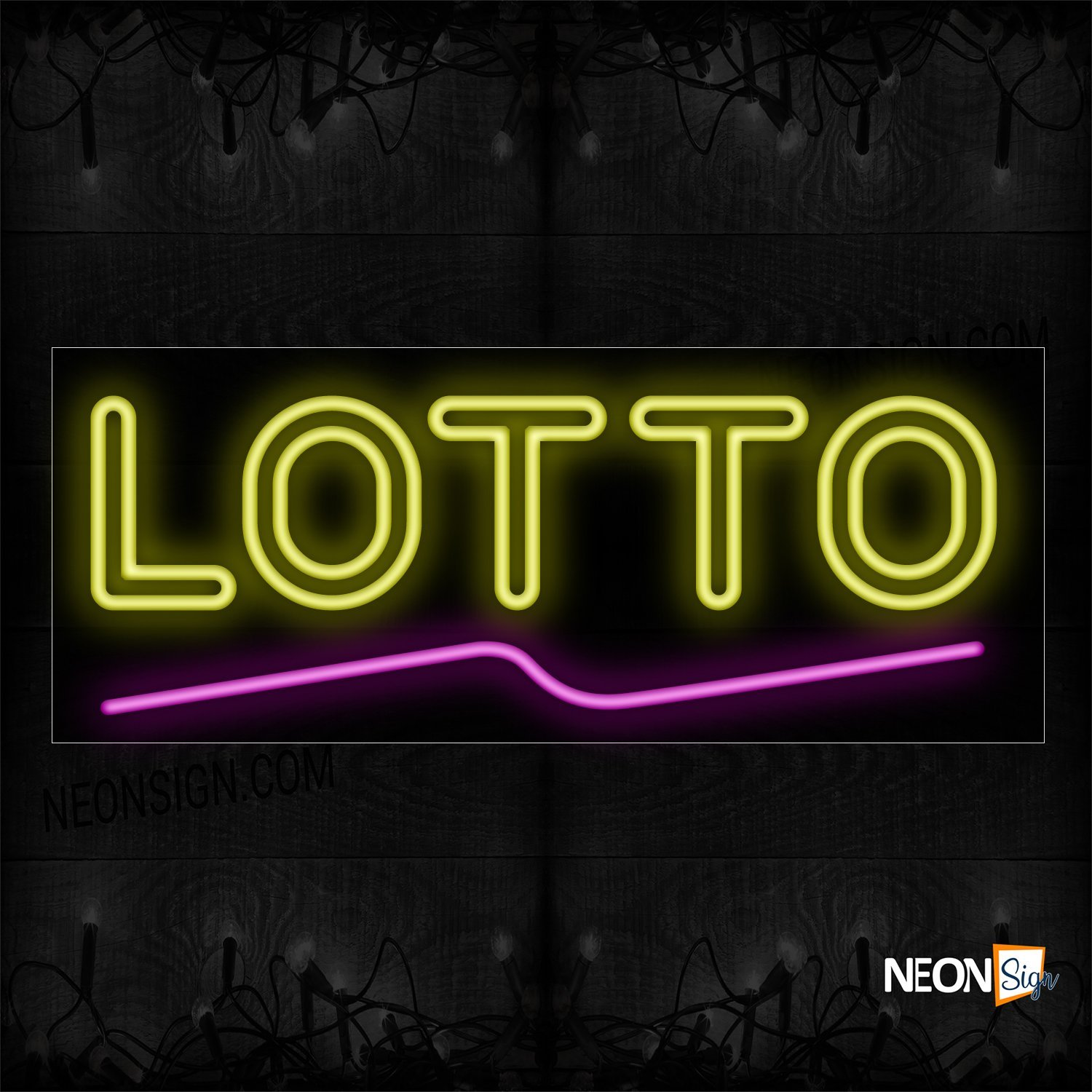 Image of 10089 Double Stroke Lotto In Yellow With Pink Line Neon Sign_13x32 Black Backing
