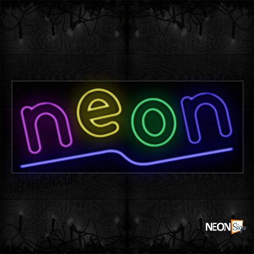 Image of 10095 Colorful Double Stroke Neon With Purple Line Neon Sign_13x32 Black Backing