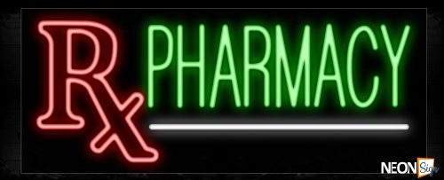 Image of 10107 Rx Pharmacy with white line Neon Sign_13x32 Black Backing