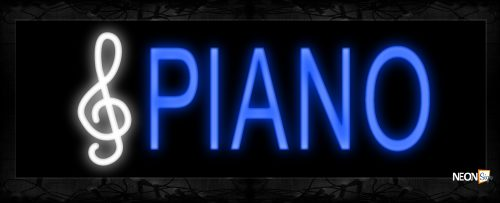 Image of 10111 Piano with note logo Neon Sign 13x32 Black Backing
