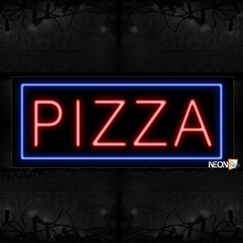 Image of 10112 Pizza with border Neon Sign_13x32 Black Backing