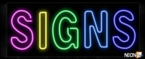 Image of 10123 Colorful Signs Neon Sign_13x32 Black Backing