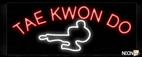 Image of 10133 Tae Kwon Do with logo Neon Sign_13x32 Black Backing