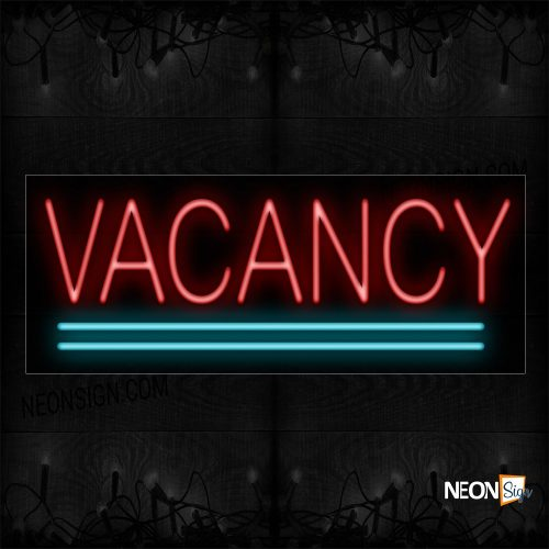 Image of 10142 Vacancy In Red With Aqua Lines Neon Sign_13x32 Black Backing