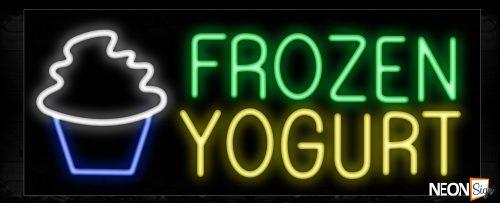 Image of 10147 Frozen Yogurt with logo Neon Sign_13x32 Black Backing