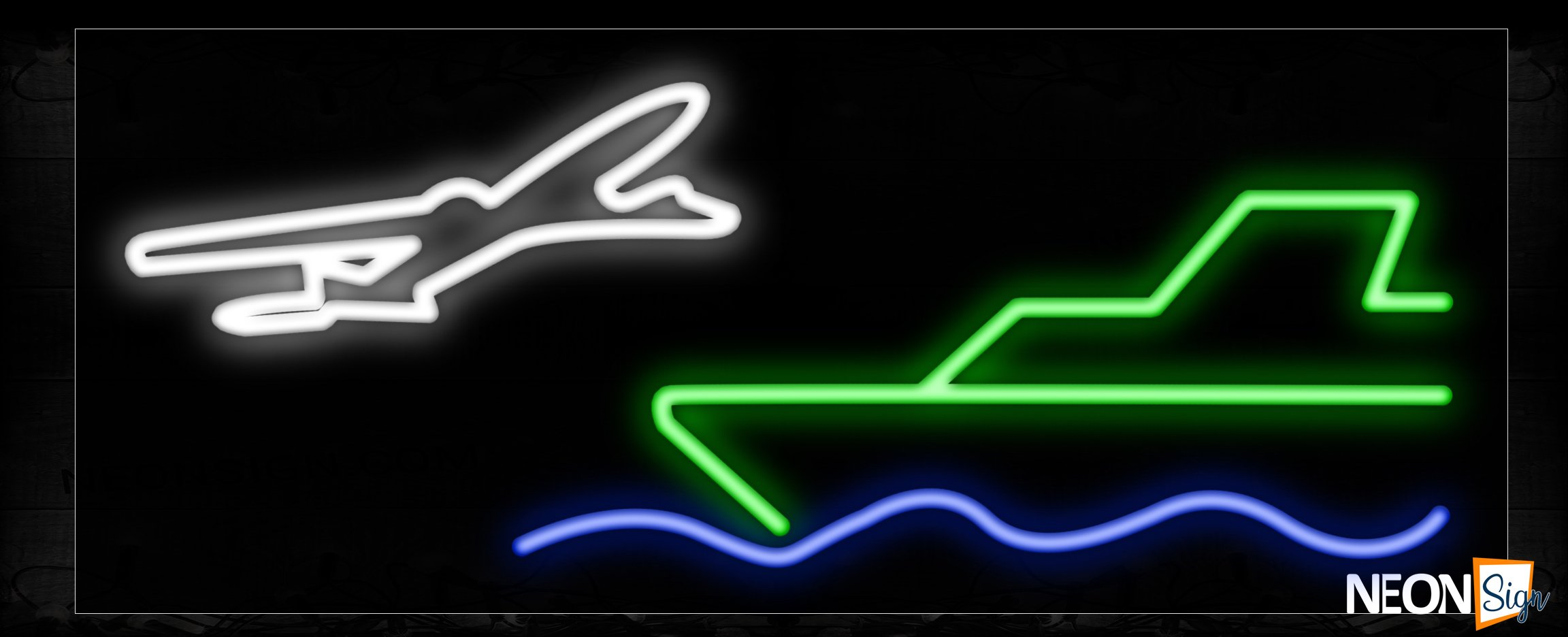 Image of 10148 Airplane and ship logo Neon Sign_13x32 Black Backing